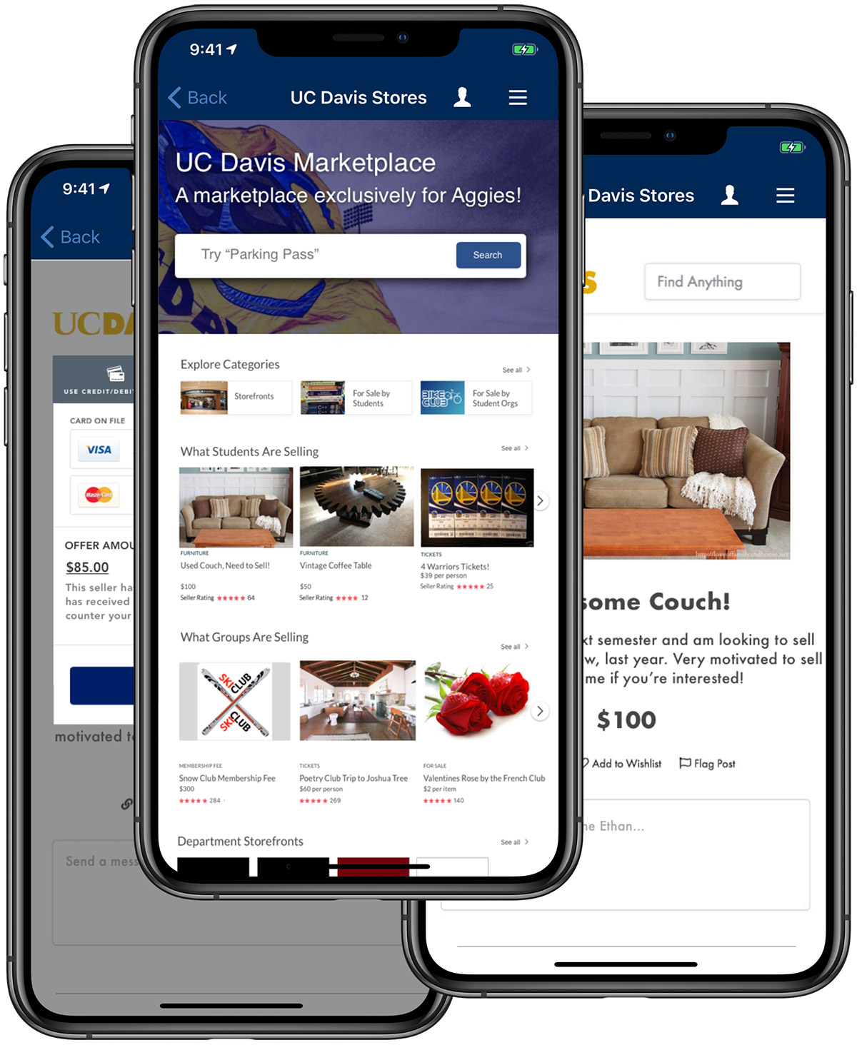 Screen snapshots of a marketplace on phones